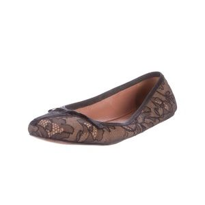 Alaïa lace accented bow round toe ballet flat 6/36